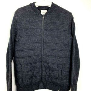 Zara The Knitwear Kids Quilted Sweater Jacket Gray